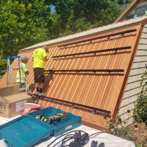 Installing solar panels on a metal roof